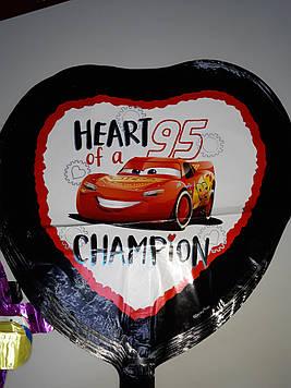 """Гелиевый шар фольгированный сердце с надписью """"Champion"""" рисунок Тачки"""