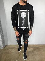 Худи мужское черное с принтом роза в черно-белом цвете свитер мужской черный с принтом