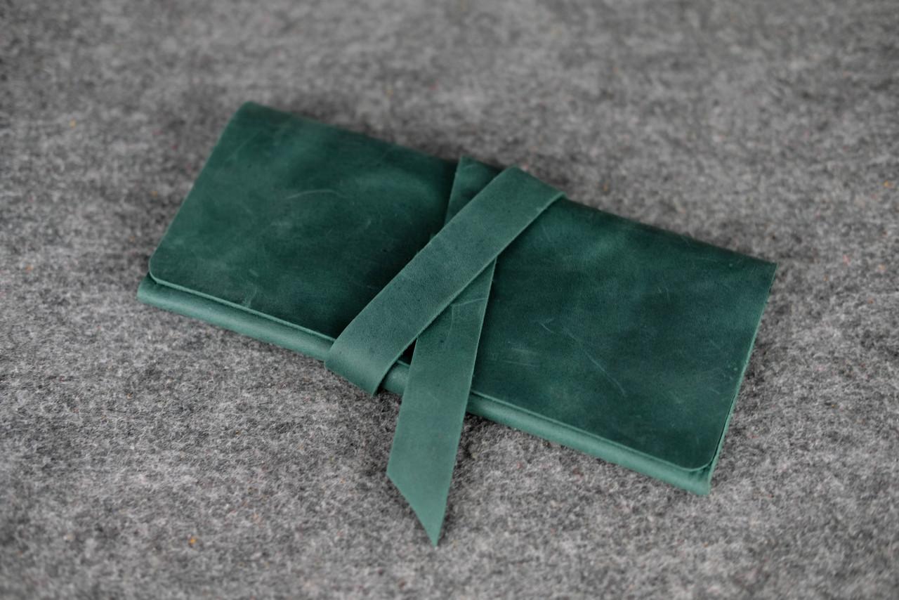 Клатч с закруткой  Винтажная кожа цвет Зеленый