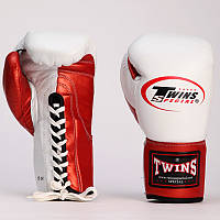 Перчатки боксерские кожаные на шнуровке TWIN BO-0279-R