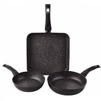 Набор сковородок с мраморным покрытием 20/24 + Гриль 28 см Edenberg EB-1732 Черный