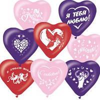 Воздушные шары 10дюймов/25см Сердце Декоратор (офсет) рис ассорти 5-ти цветное 100шт