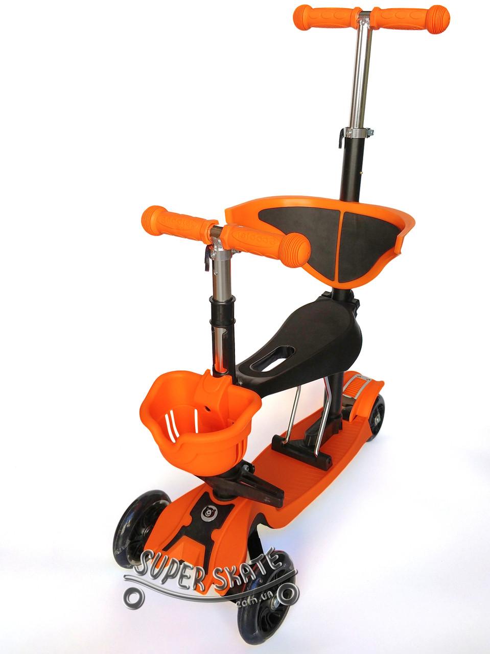 Трехколесный Самокат 5в1 Scooter - PRO - С родительской ручкой - Оранжевый