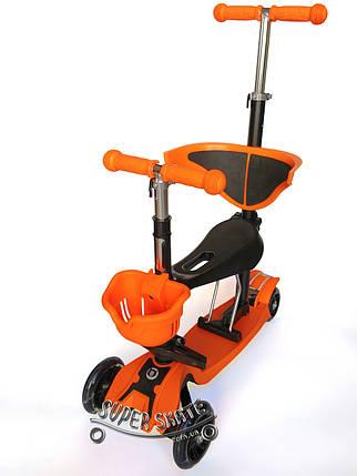 Трехколесный Самокат 5в1 Scooter - PRO - С родительской ручкой - Оранжевый, фото 2