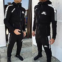 Мужской костюм cпортивный Турция ткань двунить штаны на манжете цвет черный