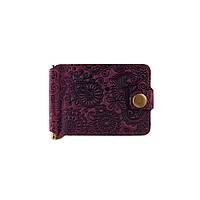 """Фиолетовый дизайнерский зажим для денег с натуральной матовой кожи, коллекция """"Mehendi Art"""", фото 1"""