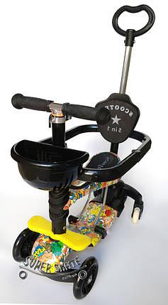 Трехколесный Самокат/Беговел 5в1 Scooter - Ufo Plus - С родительской ручкой и бортиком - Покемон, фото 2