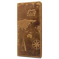 """Красивый рыжий кожаный бумажник, коллекция """"7 wonders of the world"""", фото 1"""