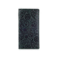 """Эргономический дизайнерский зеленый кожаный бумажник на 14 карт с авторским художественным тиснением """"Buta Art"""", фото 1"""