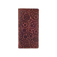 """Дизайнерський гаманець на 14 карт з натуральної матової шкіри коньячного кольору з авторським художнім тисненням """"Buta Art"""", фото 1"""