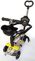 Детский Самокат Беговел 5в1 Scooter - Print- С родительской ручкой и ограничителем - Собачки