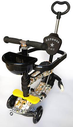 Детский Самокат Беговел 5в1 Scooter - Print- С родительской ручкой и ограничителем - Собачки, фото 2
