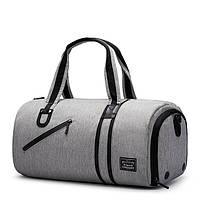 Спортивная сумка TuGuan 1811 с отделом для обуви и карманом для мокрых вещей серая