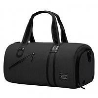 Спортивная сумка TuGuan 1811 с отделом для обуви и карманом для мокрых вещей черная