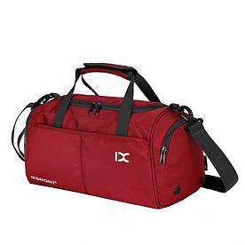 Спортивная сумка IX с отделом для обуви и для мокрых вещей красная