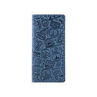 """Блакитний гаманець з натуральної матової шкіри на 14 карт, колекція """"let's Go Travel"""", фото 1"""