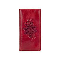"""Эргономический дизайнерский красный кожаный бумажник на 14 карт, коллекция """"Mehendi Classic"""", фото 1"""