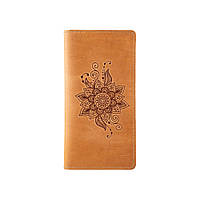 """Гаманець з матовою натуральної шкіри світло жовтого кольору на 14 карт, колекція """"Mehendi Classic"""", фото 1"""
