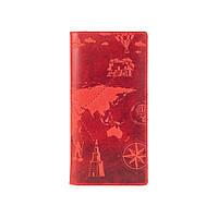 """Красный кожаный бумажник, тиснение """"7 wonders of the world"""", фото 1"""