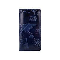 """Дизайнерский голубой бумажник с натуральной кожи на кнопках, коллекция """"7 Wonders of the World"""", фото 1"""