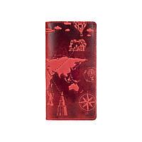 """Дизайнерский бумажник красного цвета с матовой натуральной кожи, на кнопках, с отделением для монет, коллекция """"7 wonders of the world"""", фото 1"""