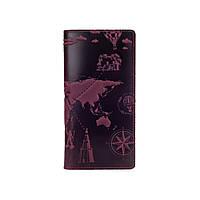 """Оригинальный бумажник фиолетового цвета с матовой натуральной кожи с отделением для монет, художественное тиснение """"7 wonders of the world"""", фото 1"""