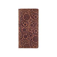"""Эргономический кожаный бумажник рыжего цвета на кнопках, авторское художественное тиснение """"Buta Art"""", фото 1"""