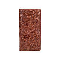 """Красивый кожаный бумажник на кнопках, с натуральной кожи цвета глины, художественное тиснение """"Let's Go Travel"""""""