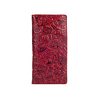 """Вместительный красный бумажник с глянцевой натуральной кожи на кнопках, коллекция """"Let's Go Travel"""""""