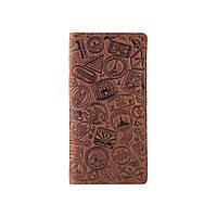 """Темно рудий гаманець з матовою натуральної шкіри з відділенням для монет, художнє тиснення """"let's Go Travel"""", фото 1"""