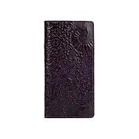 """Місткий коричневий гаманець з глянцевою натуральної шкіри на кнопках з відділенням для монет, колекція """"Mehendi Art"""", фото 1"""