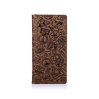 """Дизайнерський гаманець на 14 карт з натуральної шкіри оливкового кольору з художнім тисненням """"let's Go Travel"""", фото 1"""