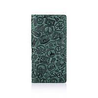 """Гарний зелений шкіряний гаманець на 14 карт з авторським тисненням """"let's Go Travel"""", фото 1"""