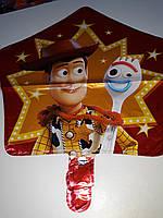 Гелиевый шар фольгированный, в форме звезды с рисунком герои мультфильма Истории игрушек