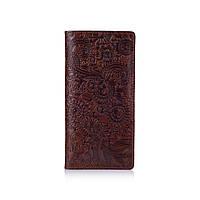"""Удобный бумажник с глянцевой натуральной кожи коньячного цвета с отделением для монет, коллекция """"Mehendi Art"""", фото 1"""