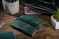 Зручний маленький гаманець на кобурном гвинті з натуральної шкіри зеленого кольору, фото 1