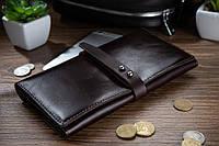 Вместительный кожаный бумажник на кобурном винте коричневого цвета, фото 1
