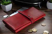 Місткий шкіряний гаманець на кобурном гвинті червоного кольору, фото 1