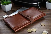 Вместительный кожаный бумажник на кобурном винте янтарного цвета, фото 1