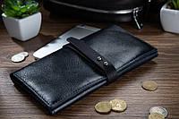 Вместительный кожаный бумажник на кобурном винте темно синего цвета, фото 1