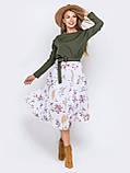 Повседневное комбинированное платье с длинным рукавом и расклешенной юбкой в цветочный принт, фото 3