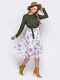 Повседневное комбинированное платье с длинным рукавом и расклешенной юбкой в цветочный принт, фото 4