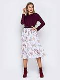 Повседневное комбинированное платье с длинным рукавом и расклешенной юбкой в цветочный принт, фото 6