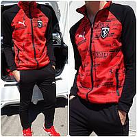 Мужской костюм cпортивный Турция ткань двунить штаны зауженные на змейках цвет красный, фото 1