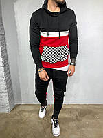 Мужской черный с красным спортивный костюм с капюшоном модный