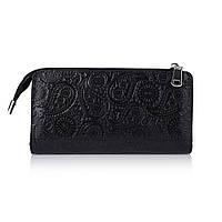 """Зручний шкіряний гаманець на блискавці чорного кольору, колекція """"Buta Art"""""""