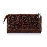 """Зручний шкіряний гаманець на блискавці коньячного кольору, колекція """"Buta Art"""""""