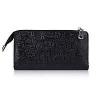 """Удобный кожаный кошелек на молнии черного цвета, коллекция """"Mehendi Art"""", фото 1"""