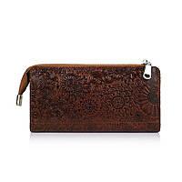 """Зручний шкіряний гаманець на блискавці коньячного кольору, колекція """"Mehendi Art"""""""