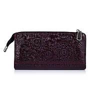 """Гарний шкіряний гаманець на блискавці фіолетового кольору, колекція """"Mehendi Art"""""""